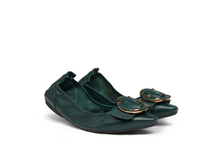 838-1 Dark Green Round Buckle Foldable Flats