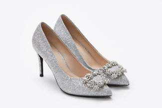 6162-16A Silver Sparkly Embellished Front Heels