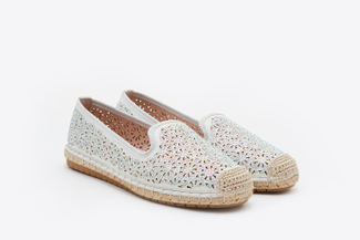 164-12 Silver Metallic Perforated Espadrille Loafers
