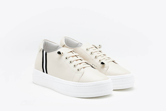 75-2 Apricot Slip-on Platform Leather Sneakers