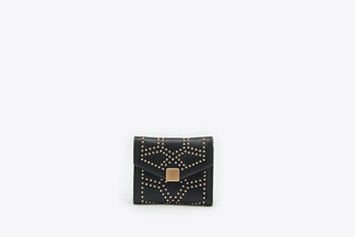 2627-1 Black Studded Square Flap Wallet