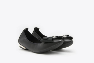 309-2 Black Metallic Bow Front Leather Square Toe Flats