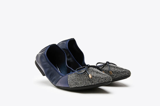 5250-39A Blue Bow Glitter Foldable Leather Flats