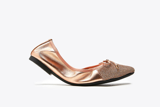 5250-39A Champagne Bow Glitter Foldable Leather Flats