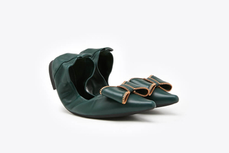0039-2 Green Embellished Bow Foldable Leather Flats