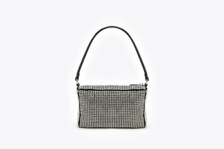 9423 Silver Diamante Embellished Long Handle Handbag