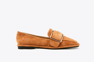 178-18 Camel Suede Buckle Leather Loafers
