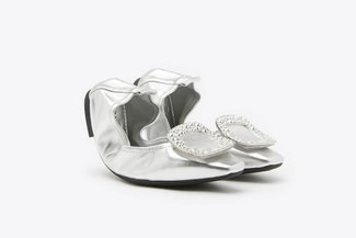 733-2 Silver Crystal Buckle Leather Foldable Flats
