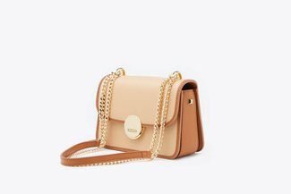 SB-D275 Almond Metallic Chain Two-Tone Push Lock Leather Shoulder Bag