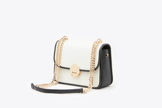 SB-D275 White Metallic Chain Two-Tone Push Lock Leather Shoulder Bag