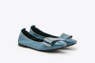733-19 Blue Studded Bow Square Toe Patent Leather Flats