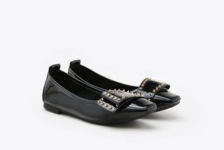 733-19 Black Studded Bow Square Toe Patent Leather Flats