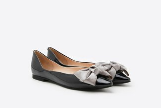 6001-31 Black Pointy Toe Leather Bow Flats