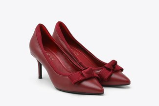 1898-5A Wine Bow Detailed Leather Mid Heels