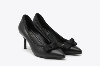 1898-5A Black Bow Detailed Leather Mid Heels