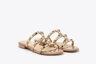 2597-1 Nude Gold-Studded Cage Patent Leather Slides