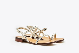 LT6233-27 Beige Studs Embellished Leather Sandals