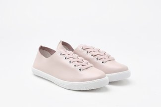 668-7A Pink Pastel Lace-Up Leather Sneakers