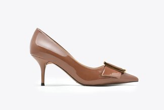 LT183-10 Coffee Glossy Classic Gold Buckled Pointy Toe Patent High Heels