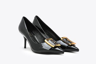 LT183-10 Black Glossy Classic Gold Buckled Pointy Toe Patent High Heels