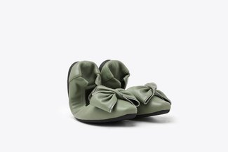 1318-55 Green Oversized Bow Leather Foldable Flats