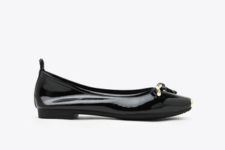 2188-3 Black Gold-Tip Knot Patent Leather Ballet Flats