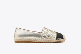 619-2 Gold Metallic Quilted Leather Espadrilles