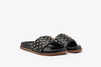 7616-1 Black Gold Studs Embellished Leather Slides