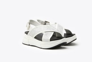969-1 White Athleisure Metallic Mesh  Chunky Flatform Sandals