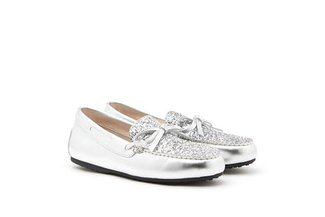 1960-1 Silver Glittered Bow Leather Loafers