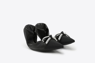 9550-19 Black Crystal Bow Leather Pointy Foldable Flats