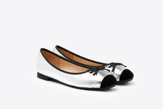 1887-2 Silver Metallic Square Toe Bow Leather Flats