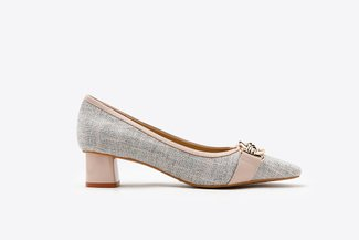 1902-8 Pink Pastel Tweed Classic Round Toe Chunky Leather Pumps