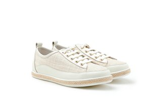 7606-13 Beige Tweed Lace-Up Leather Espadrille Sneakers