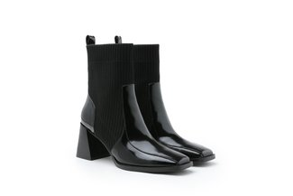 886-2 Black Fly Knit Polished Chunky Heel Boots