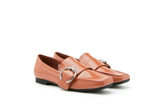 9088-1 Deep Pink Classic Buckle Leather Loafers