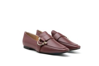 1215-11 Wine Ring Detailed Square Toe Leather Loafers