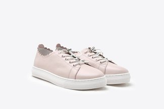 809-2 Pink Trimmed Leather Sneakers