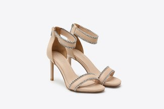 8907-10 Almond Diamante Embellished Wrap Around Leather High Heel Sandals