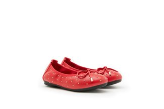 BB073-1 Red Stud Quilted Ballerina Flats