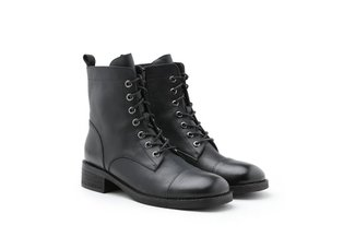 998-1A Black Lace up Combat Boots