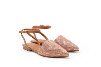 013-14 Brown Diamante Embellished Ankle Flats