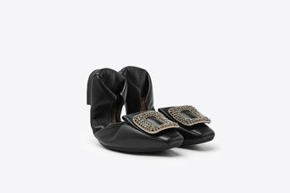 733-28A Black Crystal Broach Leather Square Toe Foldable Flats