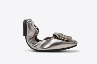733-28A Pewter Crystal Broach Leather Square Toe Foldable Flats