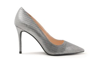 8759-56 Pewter Diamante Gradient Effect Leather High Heels