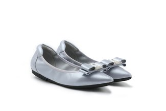 208-20 Grey Bow Tie Pointed Leather Flats