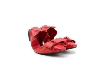 733-20 Red Oversized Bow Foldable Leather Flats
