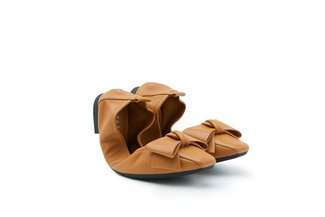 733-20 Brown Oversized Bow Foldable Leather Flats