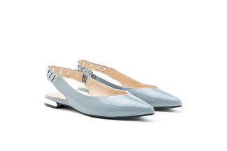 1359B-20 Grey Slingback Pointed Patent Leather Flats