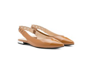 1359B-20 Brown Slingback Pointed Patent Leather Flats